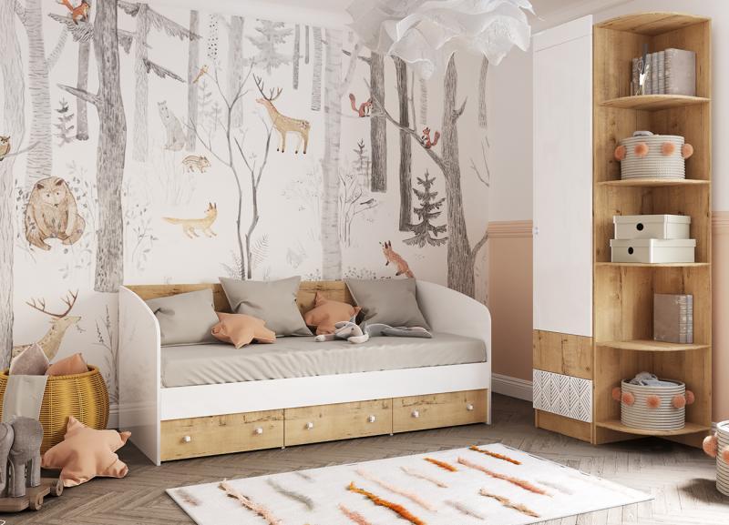 Фото Детская мебель, Детские кровати Кровать Аленка 0,8м дуб бунратти/белый глянец (ДСВ)