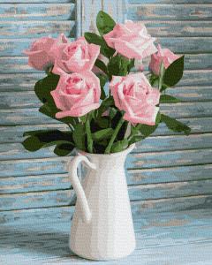 Фото Картины на холсте по номерам, Букеты, Цветы, Натюрморты KGX 37824 Свежие розы Картина по номерам  40х50см в коробке