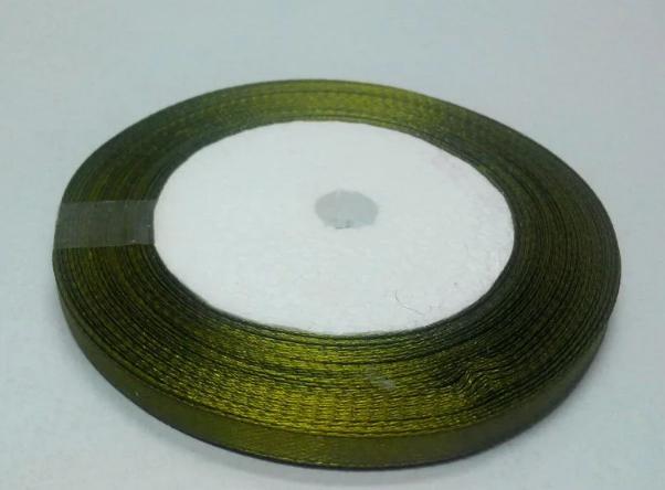 Фото Ленты, Атласная  лента  однотонная и  с  люрексом.  0,6 - 12 мм Лента атласная 0,6 см.  Оливково - травяного  цвета.  Бобина 23 метра.