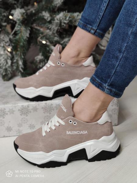 Модные замшевые кроссовки Balenciaga. Украина 37