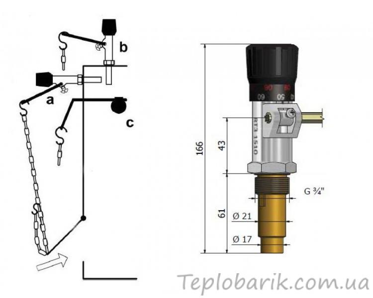 Фото Терморегуляторы для инкубаторов, Терморегуляторы для котлов Терморегулятор механический Icma для твердотопливного котла