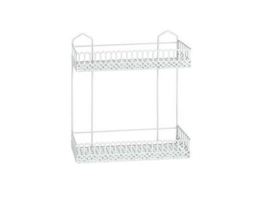 Полка Metaltex Rialto 2 секции 30х10х25 см белое пластиковое покрытие (453302)
