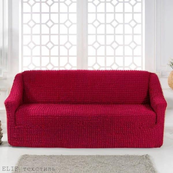 Фото Чехлы для мягкой мебели, Чехол для прямого дивана Чехол для прямого дивана без юбки (фуксия)