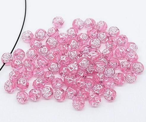 Фото Бусины ,полубусины ,стразы,.цветок.шина, тесьма пластик, Бусины  разные Бусина 8 мм , розовая стекляная с серебряным  тиснением цветок , в  виде  розочки .