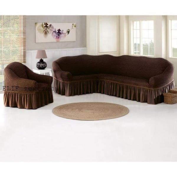 Фото Чехлы для мягкой мебели, Чехол для углового дивана и кресла Чехол для углового дивана и кресла (коричневый)