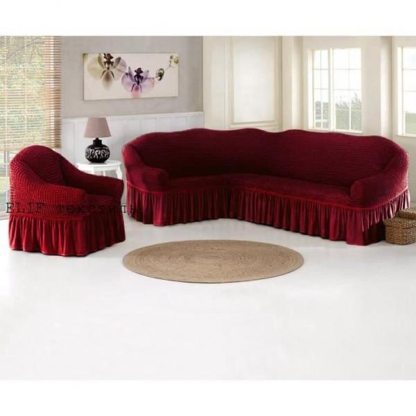 Фото Чехлы для мягкой мебели, Чехол для углового дивана и кресла Чехол для углового дивана и кресла (бордовый)