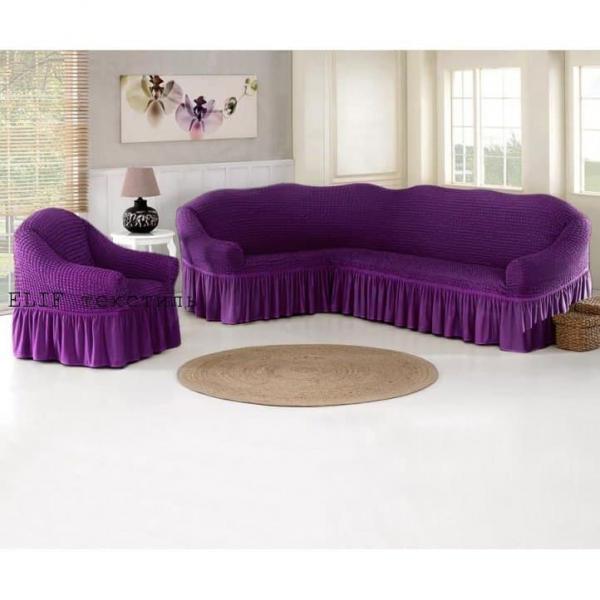 Фото Чехлы для мягкой мебели, Чехол для углового дивана и кресла Чехол для углового дивана и кресла (темно-фиолетовый)