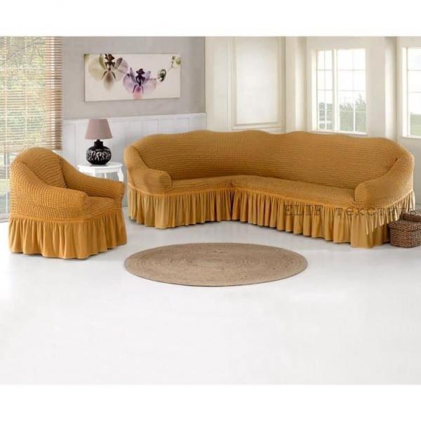 Фото Чехлы для мягкой мебели, Чехол для углового дивана и кресла Чехол для углового дивана и кресла (светло-горчичный)