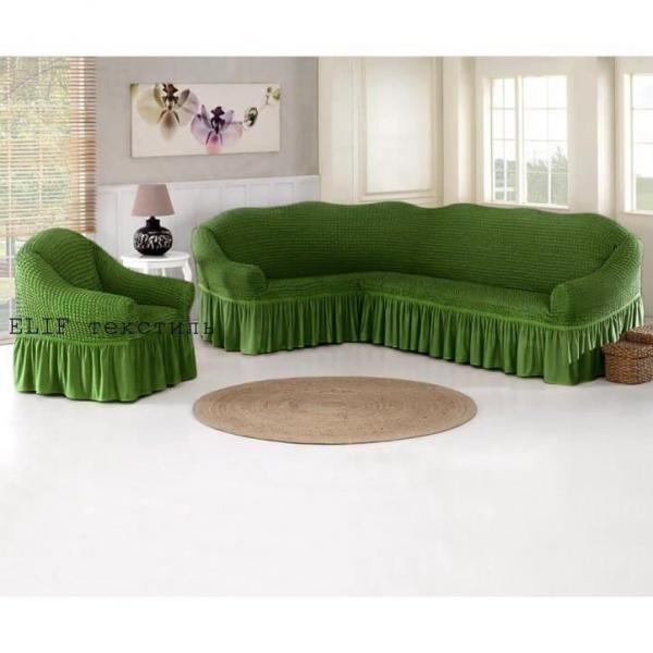 Чехол для углового дивана и кресла (зеленый)