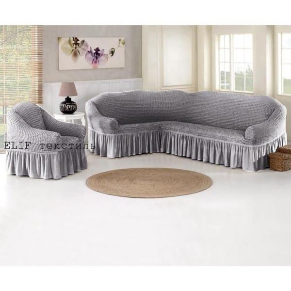 Фото Чехлы для мягкой мебели, Чехол для углового дивана и кресла Чехол для углового дивана и кресла (серый)