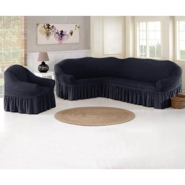 Чехол для углового дивана и кресла (графитовый)