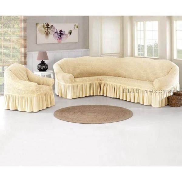 Фото Чехлы для мягкой мебели, Чехол для углового дивана и кресла Чехол для углового дивана и кресла (кремовый)