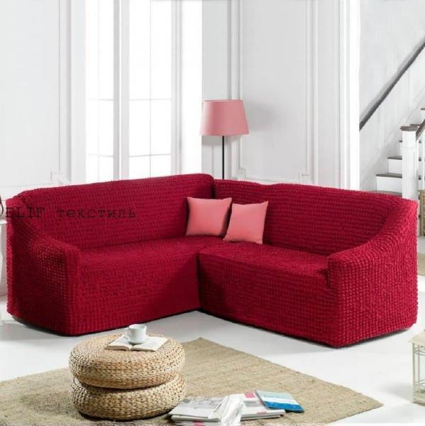Фото Чехлы для мягкой мебели, Чехол для углового дивана Чехол для углового дивана без юбки  (бордовый)  Турция