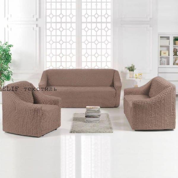 Фото Чехлы для мягкой мебели, Чехол для прямого дивана и 2х кресел Чехол для прямого дивана и 2-х кресел без юбки (темно-серый)