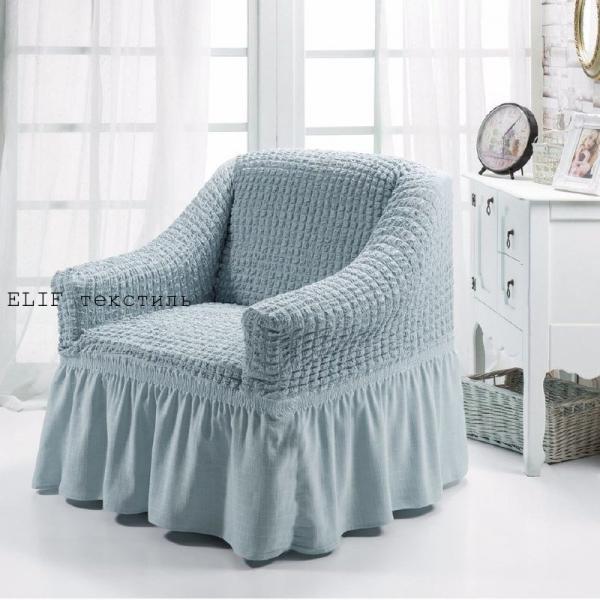 Фото Чехлы для мягкой мебели, Чехлы  для кресла Чехол на кресло  универсальный  (серый) 1шт.  Турция
