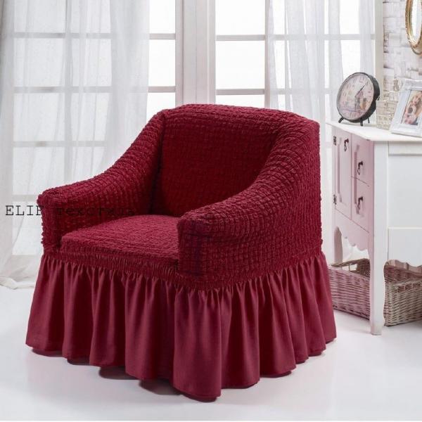 Фото Чехлы для мягкой мебели, Чехлы  для кресла Чехол на кресло  универсальный  (чернослив) 1шт.  Турция