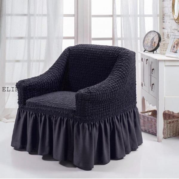 Фото Чехлы для мягкой мебели, Чехлы  для кресла Чехол на кресло  универсальный (графит) 1шт.  Турция
