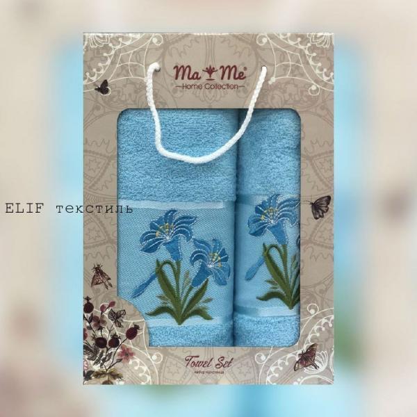 Набор махровых полотенец Ma Me 2в1 (Голубой)