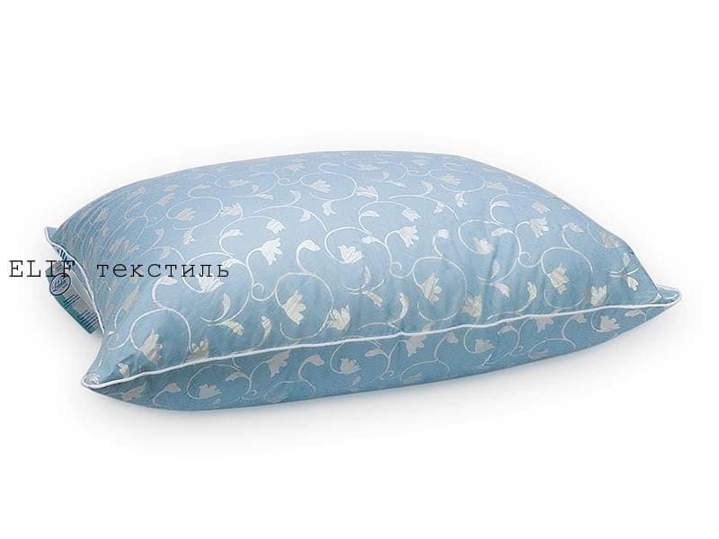 Подушка Лебяжий пух  70*70 голубая  с узором тюльпана
