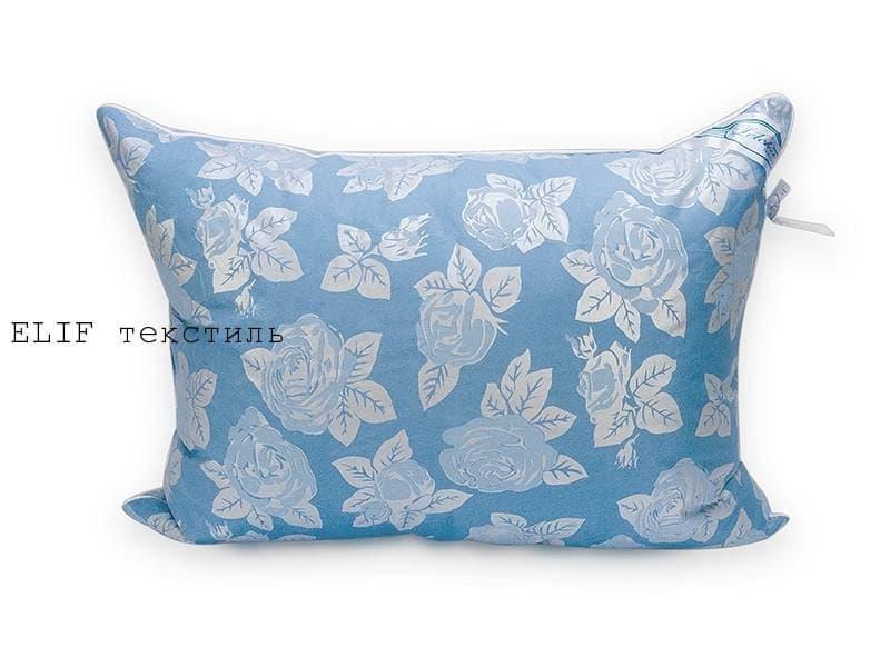Фото Подушки Подушка Лебяжий пух  70*70 голубая с узором роза