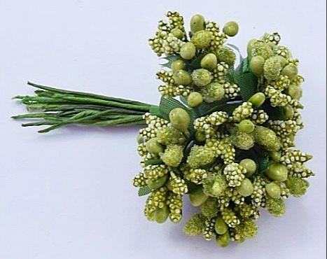 Фото Тычинки , добавки,ягодки Тычинки на веточке   Оливково - травяные   1  упаковка 10 веточек