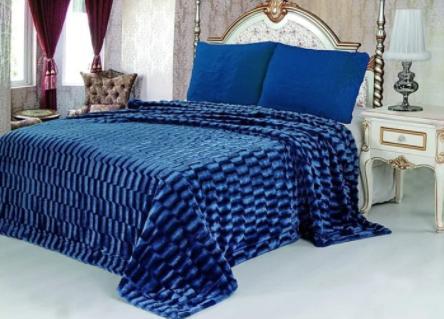 Плед норка синий            размер: 220х240 см