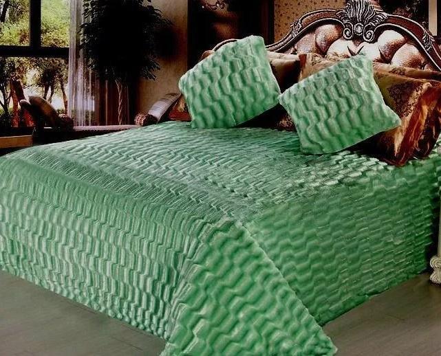 Плед норка зеленый            размер: 220х240 см