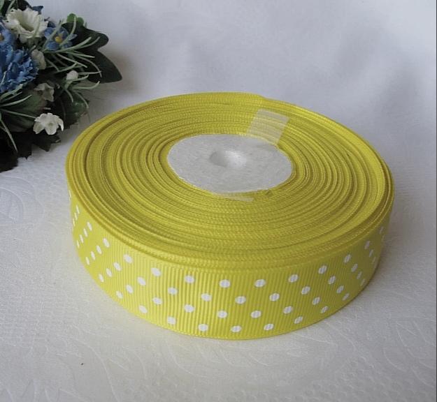 Фото Ленты, Лента репсовая с рисунком Лента репсовая 2.5 см  жёлтая  в горох