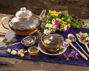 Фото Картины на холсте по номерам, Букеты, Цветы, Натюрморты VP1136 Чай с цветочным мёдом Картина по номерам на холсте 40х50см