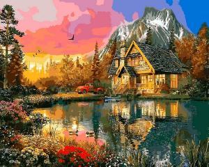 Фото Картины на холсте по номерам, Загородный дом Q2200 Краски заката Роспись по номерам на холсте 40х50см