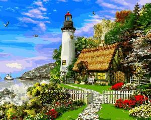 Фото Картины на холсте по номерам, Морской пейзаж VP1152 Дом смотрителя маяка Картина по номерам на холсте 40х50см