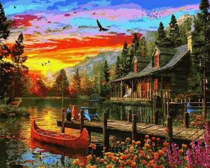 Фото Картины на холсте по номерам, Загородный дом VP1157 Сказочное место Картина по номерам на холсте 40х50см