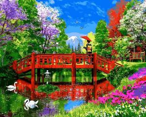 Фото Наборы для вышивания, Вышивка крестом с нанесенной схемой на конву, Пейзаж VP1162 Яркий мостик Картина по номерам на холсте 40х50см