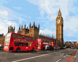 Фото Картины на холсте по номерам, Городской пейзаж GX 30085 Лондонские автобусы Картина по номерам  40х50см без коробки, в пакете