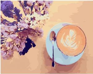 Фото Картины на холсте по номерам, Букеты, Цветы, Натюрморты KGX 22206 Лавандовый кофе Картина по номерам  40х50см