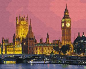 Фото Картины на холсте по номерам, Городской пейзаж GX 27906 Ночной Лондон Картина по номерам 40х50см без коробки, в пакете