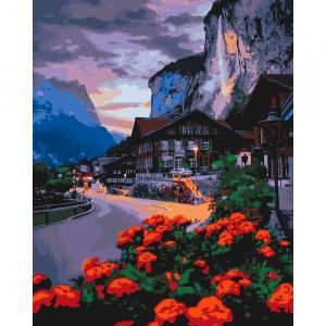 Фото Наборы для вышивания, Вышивка крестом с нанесенной схемой на конву, Пейзаж KH 2262 Лето в Швейцарии Роспись по номерам на холсте 50х40см в коробке