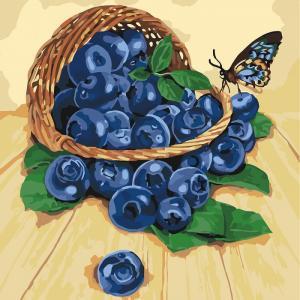 Фото Картины на холсте по номерам, Букеты, Цветы, Натюрморты KH 5556 Черника в корзинке Роспись по номерам на холсте 40х40см