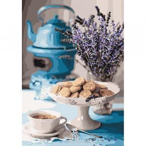 Фото Картины на холсте по номерам, Букеты, Цветы, Натюрморты KH 5558 Лавандовое чаепитие Роспись по номерам на холсте в коробке 35х50см