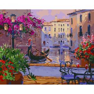 Фото Картины на холсте по номерам, Городской пейзаж KHO 3559 Чарующая Венеция Роспись по номерам на холсте (без коробки) 50х40см