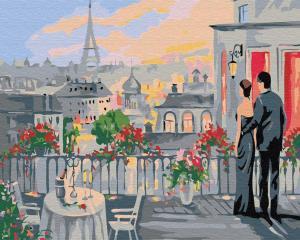 Фото Картины на холсте по номерам, Романтические картины. Люди KGX 30454 Влюбленные на терассе Картина по номерам 40х50см
