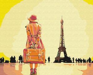 Фото Картины на холсте по номерам, Романтические картины. Люди KGX 30474 Путешественница в Париже Картина по номерам 40х50см