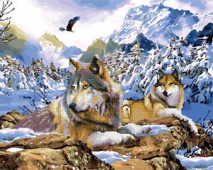 Фото  GZS 1010 Зимние волки Алмазная картина-раскраска (смешанная техника)