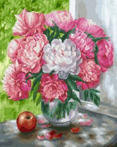 Фото  GZS 1012 Бело-розовые пионы Алмазная картина-раскраска (смешанная техника)
