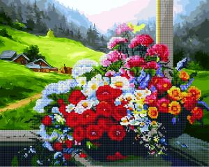 Фото  GZS 1016 Букет на окне Алмазная картина-раскраска (смешанная техника)
