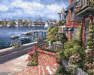 Фото Картины на холсте по номерам, Городской пейзаж GX 7925 Средиземноморская ривьера Картина по номерам 40х50см без коробки, в пакете