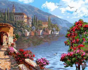 Фото Картины на холсте по номерам, Морской пейзаж KGX 9502 Цветущая набережная Роспись по номерам на холсте 40х50см
