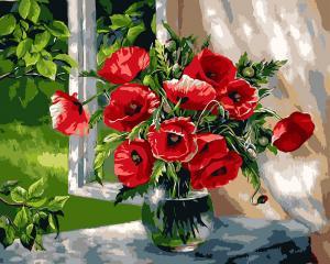 Фото Картины на холсте по номерам, Букеты, Цветы, Натюрморты KGX 9298 Маки у окна Картина по номерам на холсте 40х50см в коробке
