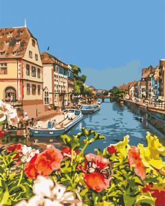 Фото Картины на холсте по номерам, Городской пейзаж AS 0635 Французский городок Картина по номерам на холсте Art Story 40x50см