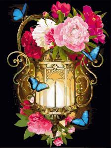 Фото Картины на холсте по номерам, Букеты, Цветы, Натюрморты VK 223 Фонарь и голубые мотыльки Роспись по номерам на холсте 40x30см